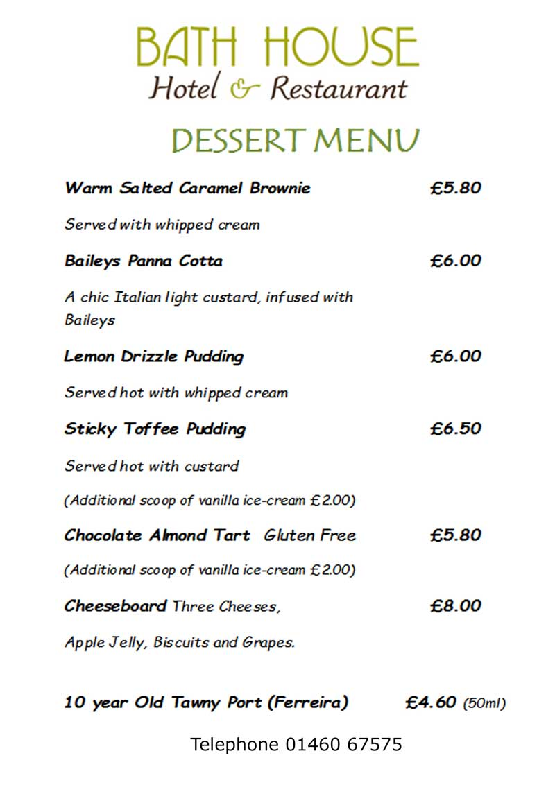 Bath House Restaurant dessert menu