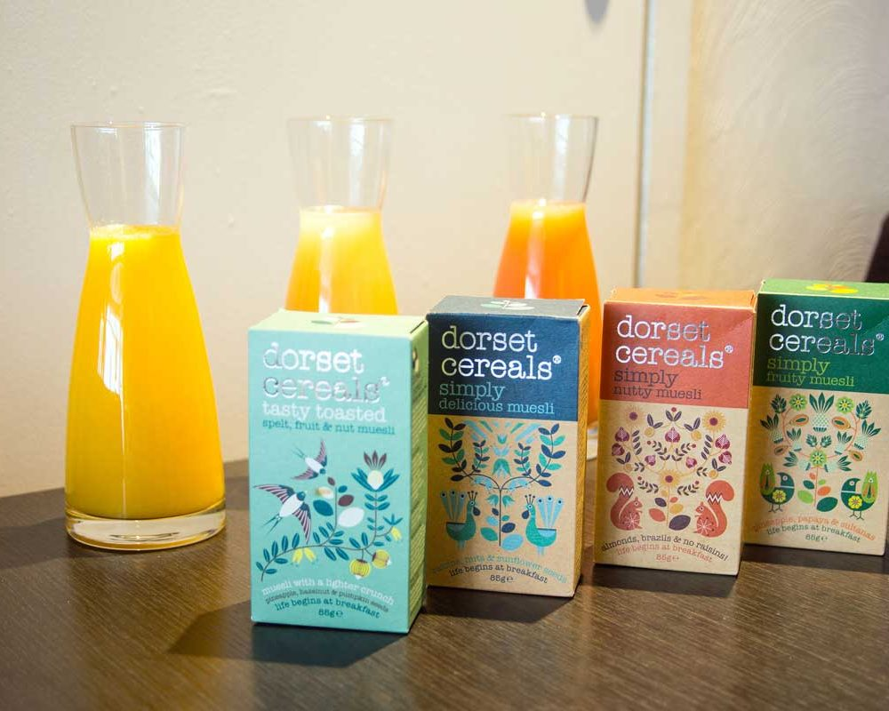 Breakfast cereal and juices at The Bath House Hotel