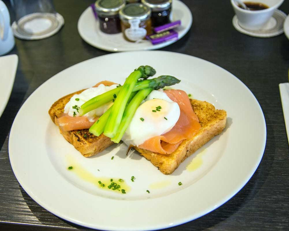 Poached Egg with Asparagus on Smoked Salmon Breakfast Option at The Bath House Hotel