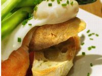 Smoked Salmon Poached Egg with Asparagus on Brioch